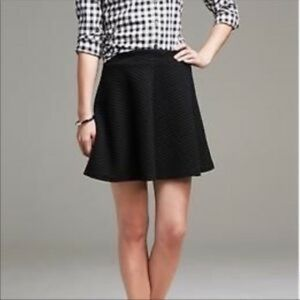 Banana Republic Black Quilted Swing Mini Skirt